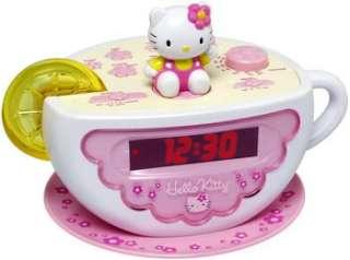 NEW* KIDS GIRLS CHILDS HELLO KITTY TEA CUP ALARM CLOCK RADIO AND