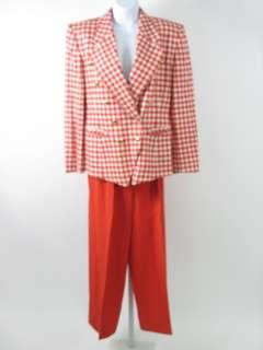 ESCADA Red White Silk Plaid Wool Blazer Jacket Suit 38