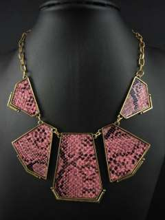 New In Fashion Gold Tone Snake Skin Pattern Pendant Necklace Chains