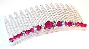 SWAROVSKI CRYSTAL ELEMENTS Hair Comb RUBY RED