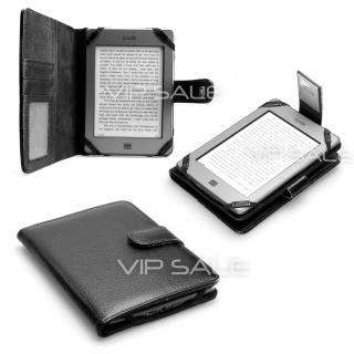 BLACK LEATHER COVER CASE WITH POCKETS AND LED READING LIGHT
