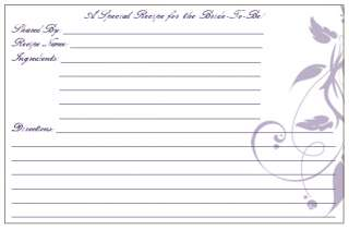 NEW CUSTOMIZED WEDDING BRIDAL RECIPE CARDS ANY COLOR