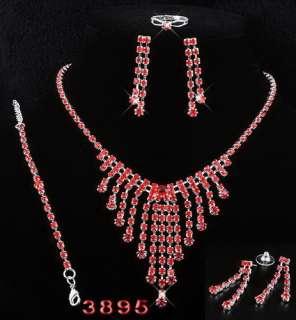 4Styles Necklace Bracelet Earrings Ring Set Inlay Red Czech Rhinestone