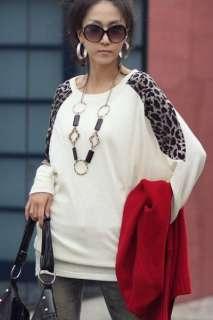leopard patchwork cotton tunic top white s/m
