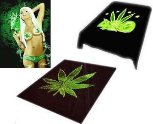 Brand New Queen size 79x95 Luxury blanket Marijuana Leaf
