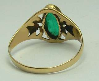 COLOMBIAN EMERALD CABOCHON & GOLD RING .90CTS