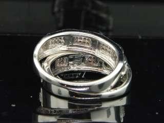 MENS LADIES 10K WHITE GOLD 0.33 CT DIAMOND WEDDING TRIO SET ENGAGEMENT