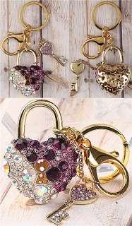 2pc Gold Plated Heart Key Lock Key Ring Keychain Jewelry E0836 1