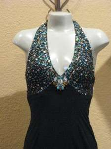 NWT RIVA DESIGNS Black Halter Bling Long Prom Gown $397