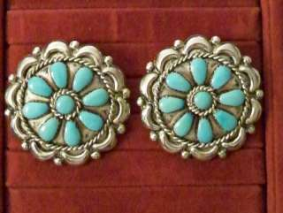 Signed LH NAVAJO TURQUOISE Sterling SILVER Earrings