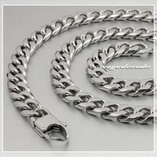 316L Stainless Steel Cool Mens Necklace Diamond Cuban Curb Chain 5M004