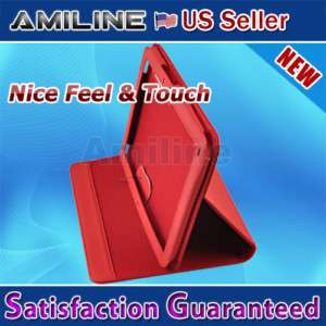 Leather Case Stand Cover for Motorola Xoom Tablet red