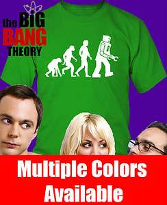 Big Bang Theory Robot Evolution Shirt NEW S 3X sheldon cooper geeky