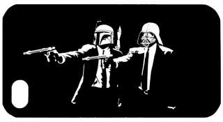 IPhone 4 hard case Black cover   Star Wars Pulp fiction style funny