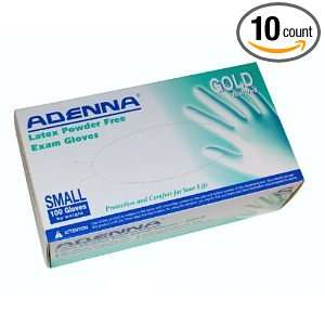 Adenna GLD262 Gold Latex PF Exam Gloves, Small, 100 Count (Pack of 10