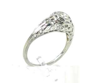 STUNNING ESTATE 18K WHITE GOLD & DIAMOND FILIGREE DESIGN RING