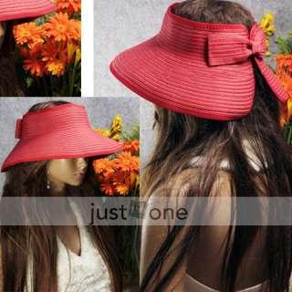 Ladies Women Sun Hat Visor Cap Bow Roll Wide Brim Beach