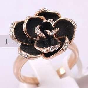 Fashion Flower Ring 18K GP use Swarovski Crystal 625RR