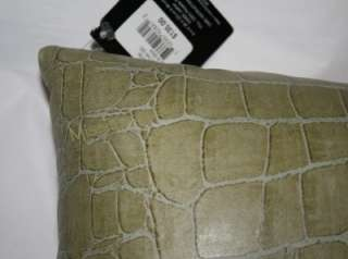 Hotel Collection Ovals GREEN Leather Pillow Alligator