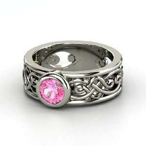 Alhambra Ring, Round Pink Sapphire 14K White Gold Ring Jewelry