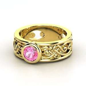 Alhambra Ring, Round Pink Sapphire 14K Yellow Gold Ring Jewelry