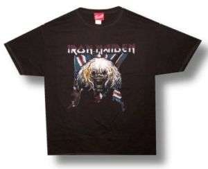 IRON MAIDEN Heavy Metal BRITISH FLAG Unisex T SHIRT L