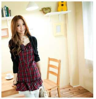 FREE SHIP NEW Women Ladies Cute Red Long Plaid Cotton Shrug Bolero Top
