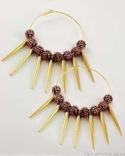 ANTIQUE GOLD SPIKE BROWN BEADED POPARAZZI BASKETBALL WIVES EARRINGS