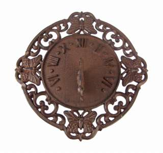 Rustic Distressed Finish Butterfly Sundial Sun Dial