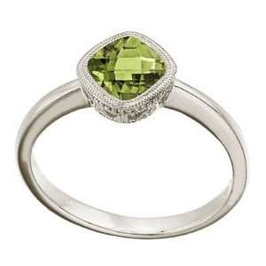 Cushion Cut Peridot Antique Style Ring in 14K White Gold