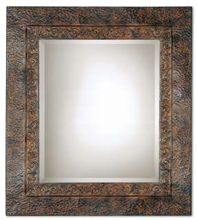 TUSCAN Embossed Metal WALL MIRROR Rectangular Bronze