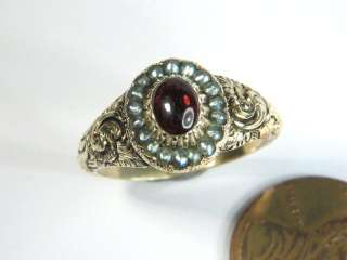 BEAUTIFUL ANTIQUE VICTORIAN ENGLISH 15K GOLD GARNET PEARL RING c1850