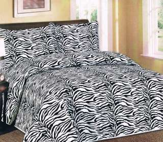 PC Quilted Bedspread Zebra Leopard Black White Pink New