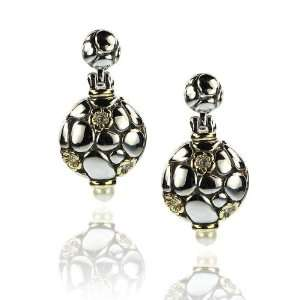 Designer Inspired Gold and Silver Two tone Pearl Earrings