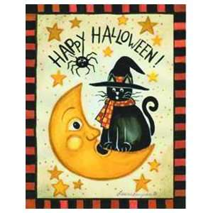 Halloween Witch Hat Cat Moon Mini Flag Patio, Lawn