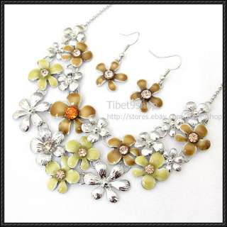 Sets Wholesale Silver Plated Flower Tibetan Fashional Necklace