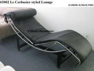 LC Styled Leather Chaise Lounge Chair black/white #1184