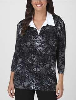 Essentials by Maggie™ Layered Look Animal Print Cardigan  Fashion