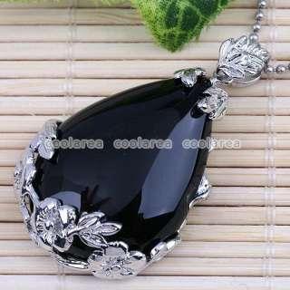 Black Agate Flower Inlaid Waterdrop Bead Focal Pendant
