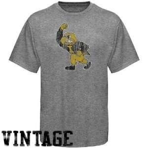 NCAA Iowa Hawkeyes Ash Distressed Big Logo Vintage T shirt