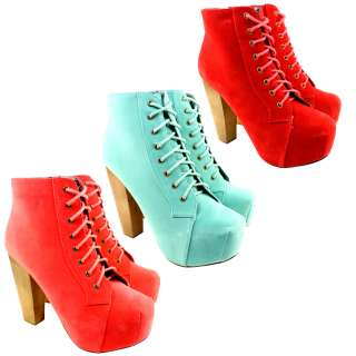 WOMENS BRIGHT SUEDE WOODEN HIGH HEEL LACES PLATFORM ANKLE SHOE BOOTS