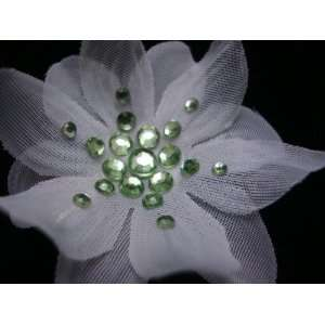 Small White Flower with Green Crystals Hair Clip  CLEARANCE, Limited
