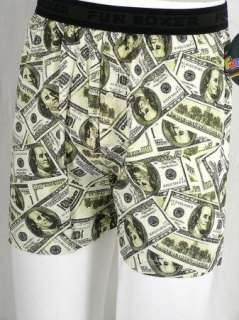 Fun Boxers MONEY $100 Dollar Bills Benjamins Stretch Cotton Boxer