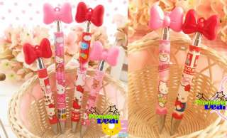 PCS Cute Hello Kitty Bow knot Ballpoint Pen Pink Red