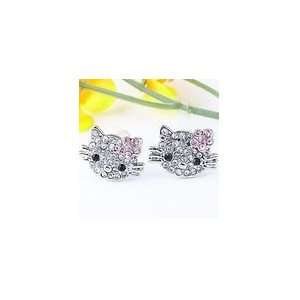 Small Hello Kitty Crystal Stud Earrings with Pink Flower Bow   Comes