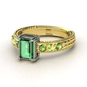 Emerald Isle Ring, Emerald Cut Emerald 18K Yellow Gold Ring with Green