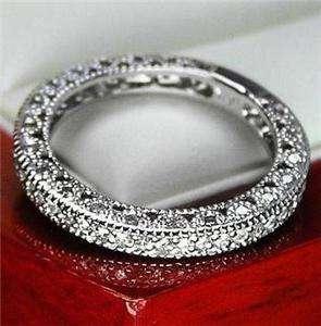 UNIQUE VINTAGE GENUINE DIAMOND WEDDING BAND RING FOR WOMEN 14K SOLID