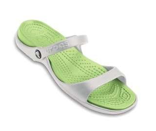 CROCS CLEO White Celery Green Womens Sandals NWT