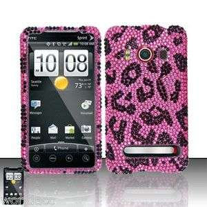 HTC EVO 4G Sprint Hard Case Snap On Phone Cover Pink Leopard Bling Z