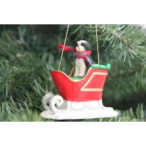 Shih Tzu Puppycut Black/White Sleigh Christmas Ornament